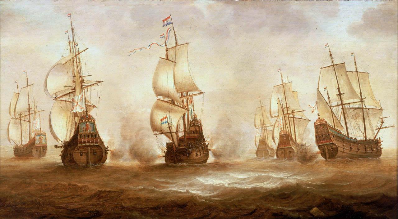Zeeslag van Witte de With een schilderij waar in de Zeeheldenzaal geen ruimte voor is.