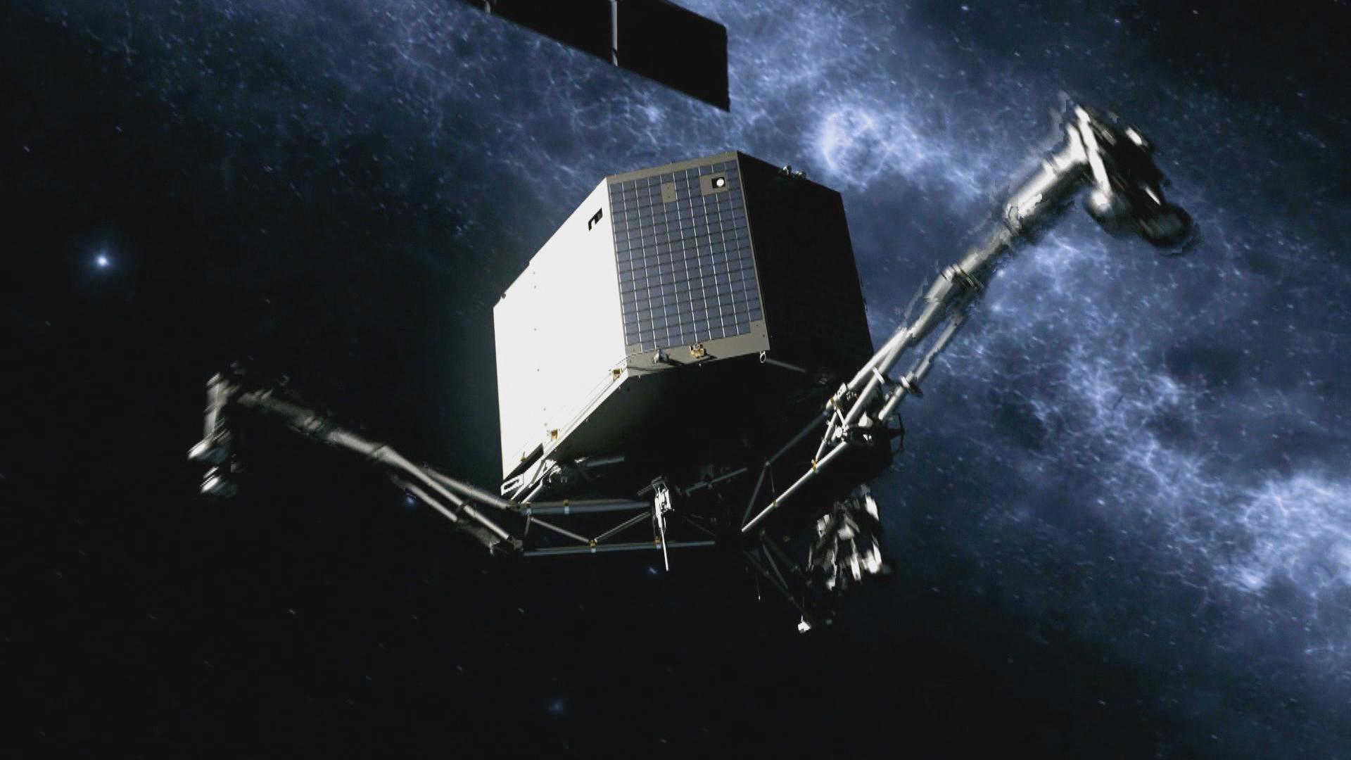 Lander Philae die afdaalt naar de komeet